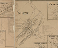 Greene Village, New York 1863 Old Town Map Custom Print - Chenango Co.
