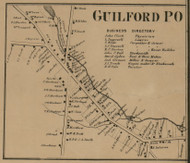 Guilford Village, New York 1863 Old Town Map Custom Print - Chenango Co.