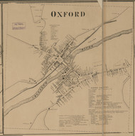 Oxford Village, New York 1863 Old Town Map Custom Print - Chenango Co.