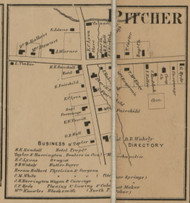 Pitcher  Village, New York 1863 Old Town Map Custom Print - Chenango Co.