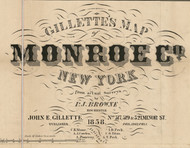 Gillette's Map of Monroe Co. New York, 1858, New York 1858 Old Town Map Custom Print - Monroe Co.