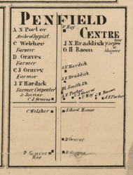 Penfield Center, New York 1858 Old Town Map Custom Print - Monroe Co.