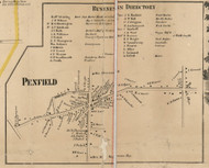 Penfield Village, New York 1858 Old Town Map Custom Print - Monroe Co.