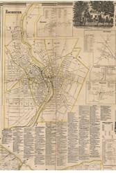 Rochester City, New York 1858 Old Town Map Custom Print - Monroe Co.