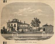 Root Residence, Sweden, New York 1858 Old Town Map Custom Print - Monroe Co.