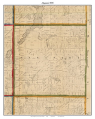 Algansee, Michigan 1858 Old Town Map Custom Print - Branch Co.