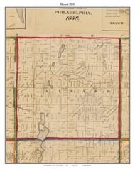Girard, Michigan 1858 Old Town Map Custom Print - Branch Co.