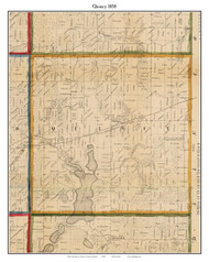 Quincy, Michigan 1858 Old Town Map Custom Print - Branch Co.