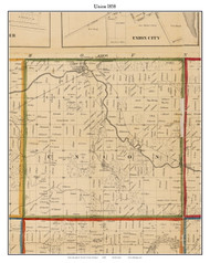 Union, Michigan 1858 Old Town Map Custom Print - Branch Co.