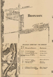 Bronson Village, Michigan 1858 Old Town Map Custom Print - Branch Co.