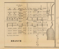 Branch Village, Michigan 1858 Old Town Map Custom Print - Branch Co.