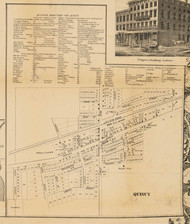 Quincy Village, Michigan 1858 Old Town Map Custom Print - Branch Co.