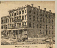 Crippen's Buildings, Coldwater, Michigan 1858 Old Town Map Custom Print - Branch Co.