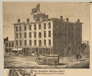 Southern Michigan Hotel, Coldwater, Michigan 1858 Old Town Map Custom Print - Branch Co.