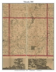 Tekonsha, Michigan 1858 Old Town Map Custom Print - Calhoun Co.