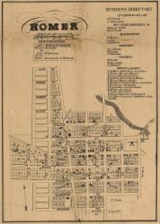 Homer Village, Michigan 1858 Old Town Map Custom Print - Calhoun Co.
