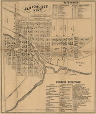 Albion Village, Sheridan & Albion, Michigan 1858 Old Town Map Custom Print - Calhoun Co.