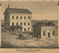 Crowell & Co. Albion Stone Mills and Office, Albion, Michigan 1858 Old Town Map Custom Print - Calhoun Co.