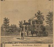 D.E. Warner Residence, Albion, Michigan 1858 Old Town Map Custom Print - Calhoun Co.