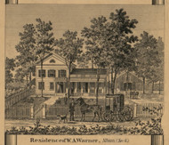 A. Warner Residence, Albion, Michigan 1858 Old Town Map Custom Print - Calhoun Co.