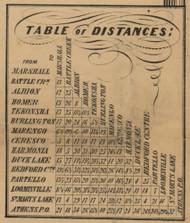 Table of Distances, Calhoun County, Michigan 1858 Old Town Map Custom Print - Calhoun Co.