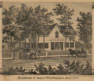 Worthington Residence, Homer, Michigan 1858 Old Town Map Custom Print - Calhoun Co.