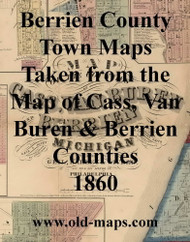 Map Cartouche, Berrien Co.. Michigan 1860 Old Town Map Custom Print - Berrien Co.
