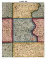 Buchanan, Michigan 1860 Old Town Map Custom Print - Berrien Co.