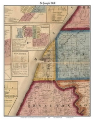 St Joseph, Michigan 1860 Old Town Map Custom Print - Berrien Co.