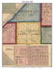 Three Oaks, Michigan 1860 Old Town Map Custom Print - Berrien Co.