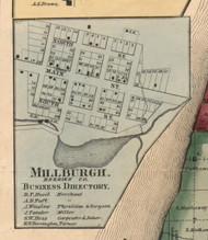 Millburgh, Michigan 1860 Old Town Map Custom Print - Berrien Co.