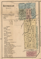 Buchanan Village, Michigan 1860 Old Town Map Custom Print - Berrien Co.