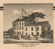 Perkins House, Michigan 1860 Old Town Map Custom Print - Berrien Co.