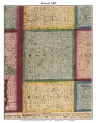 Howard, Michigan 1860 Old Town Map Custom Print - Cass Co.