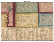 Milton, Michigan 1860 Old Town Map Custom Print - Cass Co.