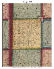 Pokagon, Michigan 1860 Old Town Map Custom Print - Cass Co.