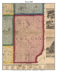 Porter, Michigan 1860 Old Town Map Custom Print - Cass Co.