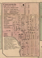 Cassopolis, Michigan 1860 Old Town Map Custom Print - Cass Co.