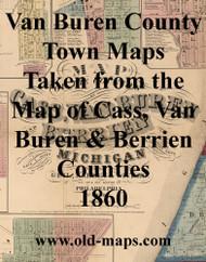 Map Cartouche, Van Buren Co. Michigan 1860 Old Town Map Custom Print - Van Buren Co.