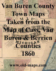 Map Cartouche, Van Buren Co. Michigan 1860 Old Town Map Custom Print - Van Buren Co.