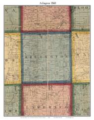 Arlington, Michigan 1860 Old Town Map Custom Print - Van Buren Co.