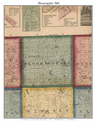 Bloomingdale, Michigan 1860 Old Town Map Custom Print - Van Buren Co.
