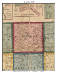 Columbia, Michigan 1860 Old Town Map Custom Print - Van Buren Co.