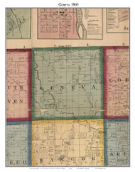 Geneva, Michigan 1860 Old Town Map Custom Print - Van Buren Co.
