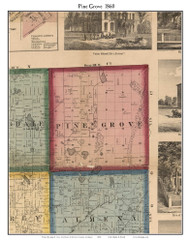 Pine Grove, Michigan 1860 Old Town Map Custom Print - Van Buren Co.