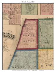 South Haven, Michigan 1860 Old Town Map Custom Print - Van Buren Co.