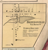 Breedsville, Michigan 1860 Old Town Map Custom Print - Van Buren Co.