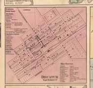 Decatur Village, Michigan 1860 Old Town Map Custom Print - Van Buren Co.
