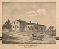 Residence of A.F. Moon, Michigan 1860 Old Town Map Custom Print - Van Buren Co.