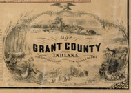 Map Cartouche, Grant Co. Indiana 1861 Old Town Map Custom Print - Grant Co.